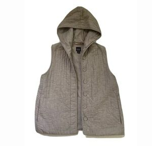 Eileen Fisher Quilted Textured Beige Hooded Vest